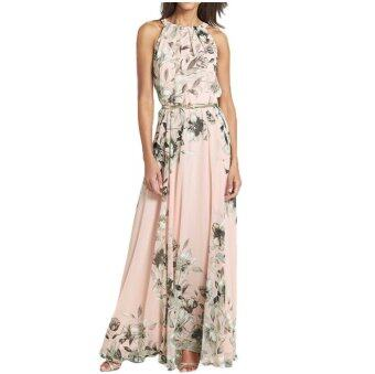 Summer Style Women Long Dress O Neck Floral Print Chiffon MaxiDress Elegant Casual Party Dresses With Belt