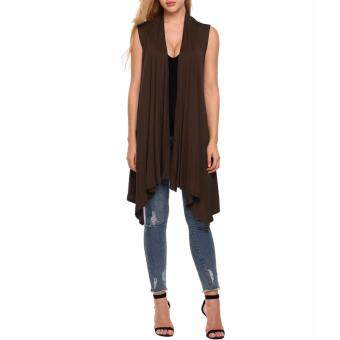 Sunweb Meaneor Women Sleeveless Asymetric Hem Open Front Solid Cardigan Coat ( Brown )
