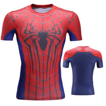 Superman men's quick-drying stretch running fitness clothing T-shirt (A103-spiderman) (A103-spiderman)