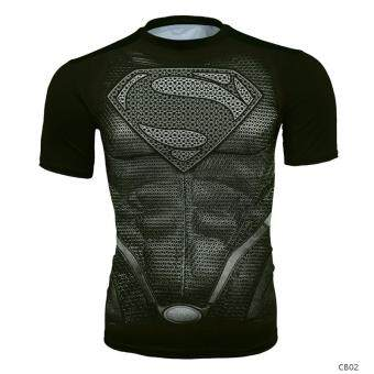 Superman slim fit clothing men compression clothing sports stretchshort-sleeved body sculpting training running fitness quick-dryingclothing T-shirt (Gray Steel)