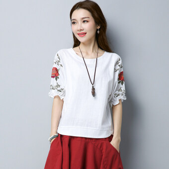 Sy national style cotton linen retro embroidered round neck short sleeved t-shirt Top (Red)