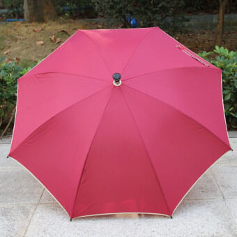 The benefits of Dual-slot bone old umbrella walking stick umbrella (Red wine) (Red wine)