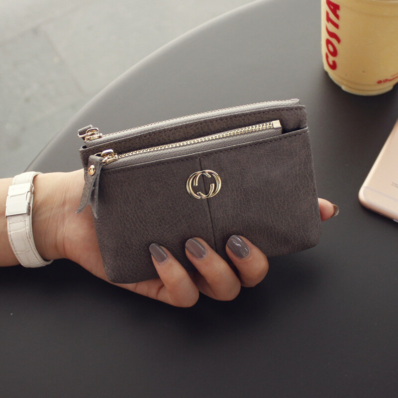 The Europe and America revive old customs short style of purse of leather female leather zipper small change wrap Korean the mini small purse spread money coin to wrap - intl