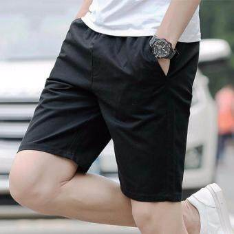 The Five Summer Sports Pants Men's Casual Pants Shorts Lovers Summer Beach Pants (Black)