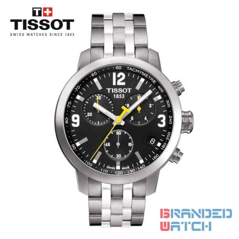 Tissot T055.417.11.057.00 Mens PRC 200 Chronograph Steel Watch (Black) Malaysia