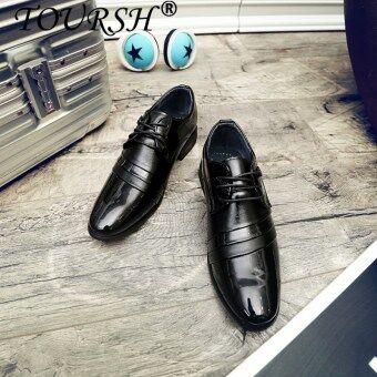 TOURSH Men Business Shoes Leather Luxury Dress Shoes Men Male Fashion Flats Pointed Toe Work Shoes