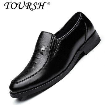 TOURSH Men Casual Business Leather Shoes Formal Shoes black