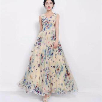 UEBUY Women Summer Plus Size Floral Sleeveless V-neck Chiffon BeachEvening Gown Party Boho Swing Defined Waist Dress