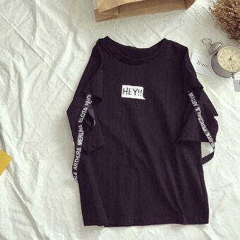 Ulzzang Korean-style Female Student Summer T-shirt New style short sleeved t-shirt (Black Excellent Quality)