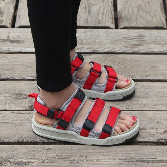 Ulzzang versatile New style flat student beach sandals (Red) (Red)