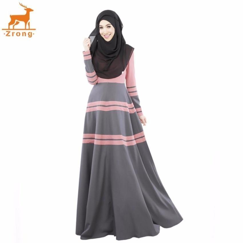 Uncle Sam Summer Women Muslim A-Line Elegant Abaya Jubah Dress Stripepatchwork Muslimah Wear (Pink)