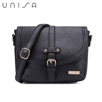 UNISA Pebbled Texture Mini Sling Bag With Stitch Accent (Black ...