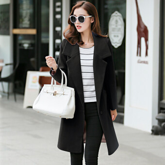 Vanker Stylish Lady Women Casual Long Sleeve slim fit Wool coatwomen's Korean Style Lapel Casual Jacket Outwear Fashion WoolBlazer-Black