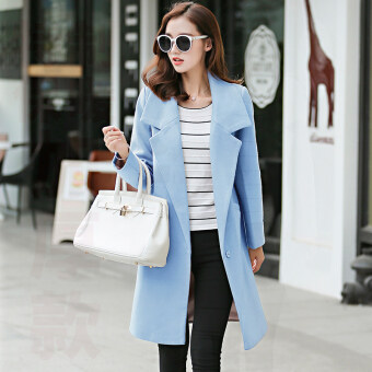 Vanker Stylish Lady Women Casual Long Sleeve slim fit Wool coatwomen's Korean Style Lapel Casual Jacket Outwear Fashion WoolBlazer-Blue