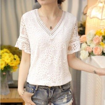 Versatile Slim fit slimming V-neck Top lace shirt (White)