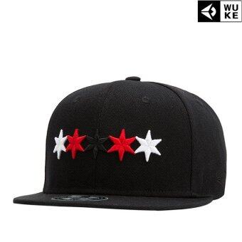 Victory Fashion Hat Man Simple Multicolor Pentagram EmbroideryBaseball Han edition Peaked cap Leisure Hip hop cap(Black)