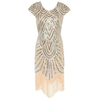 Vintage Flapper Great Gatsby Sequin Fringe Party Dress Plus SizeMesh Women Clothing Vestidos