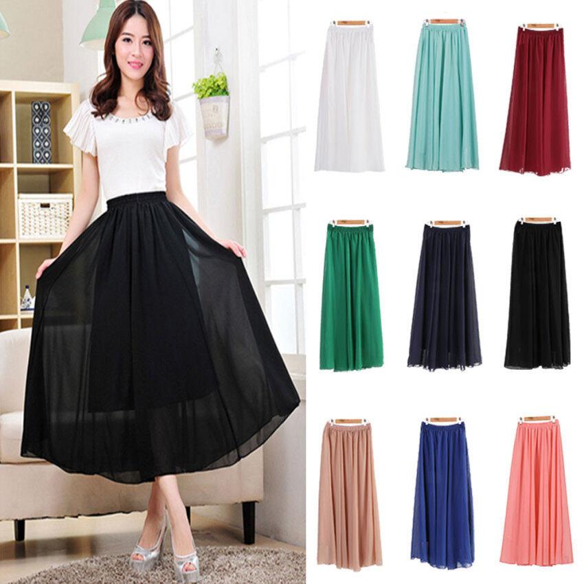 Cyber Women Summer Chiffon Long Skirt Pleated Long Maxi Skirts ...