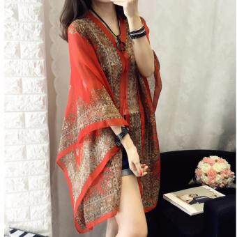 WOMEN BATIK PRINTED CHIFFON SHIRT (RED)