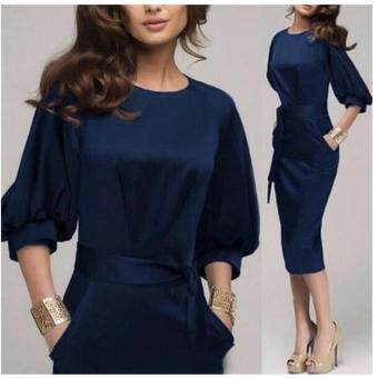 Women Elegant Work Office Dress Autumn Half Sleeve O Neck Ladies Bodycon Bandage Slim Pencil Party Dress Vestidos