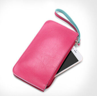 Women Fashion Long Wallet Phone Bag Money /Card /ID Holder Wristlets Clutch Bag Coin Purses Rose Color