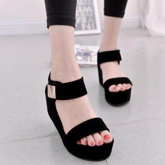 Women Flat High Wedge Sandals Shoes Ankle Strap Velcro Platform Shoes Chunky Creepers
