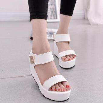 Women Flat High Wedge Sandals Shoes Ankle Strap Velcro Platform Shoes Chunky Creepers White