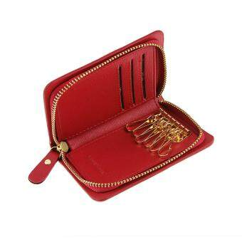 Women Men Ladies Leather Zipper Key Chain Case Pouch Credit CardsHolder Key Holder and Card Wallet/Pocket Keyholder Case/Coin KeyPurse Money Wallet Bag Bags/Gift Purse/Xmas Gift Red
