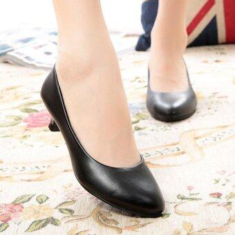 Women OL Party Patent Leather Middle Heels Wedding Formal WorkingBusiness Shoes D141 Matte Black