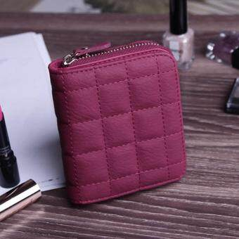 Women Short Wallets PU Leather Female Plaid Purses Nubuck Card Holder Wallet Fashion Woman Small Zipper Wallet With Coin Purse BA007-Red