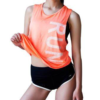 Women Sleeveless shirt tank vest Fitness yoga Vest Running Loose training Sleeveless Crop Top Sport singlet women Tank tops Orange