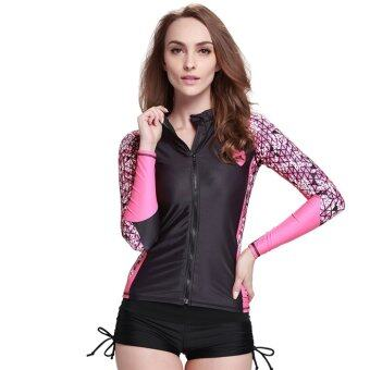 Women Surf Rash Guard Swim Shirts Long Sleeve Swimwear BathingSnorkeling Diving Shirt Wetsuit - Digital53