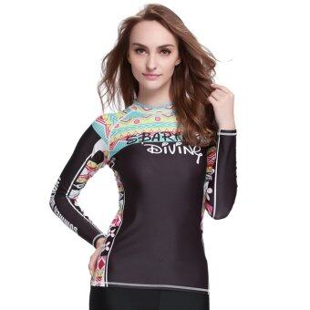 Women Swimwear Long Sleeve Surf Rashguard Swim Shirts WearSnorkeling Diving Shirts - Digital04