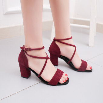 Women's Gladiator Chunky High Heel Sandal (Wine red color)