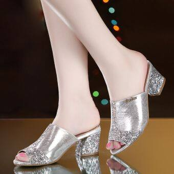 Women's Korean-style Chunky Heel Sandal (Silver leather)