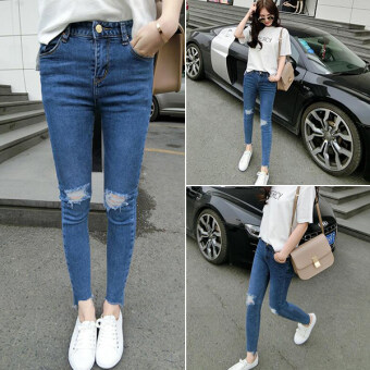 Women's Korean-style Ripped Washable High Rise Denim Cloth Pencil Pants