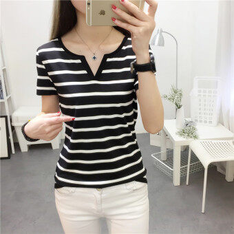 Women's Korean-style Slim Fit V-Neck Short Sleeve Solid Color T-Shirt (8009 black)