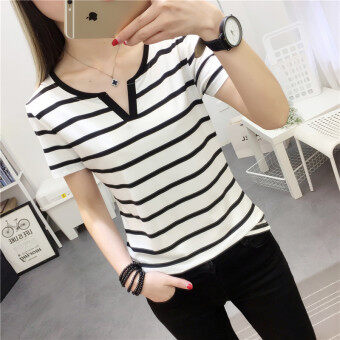 Women's Korean-style Slim Fit V-Neck Short Sleeve Solid Color T-Shirt (8009 white)