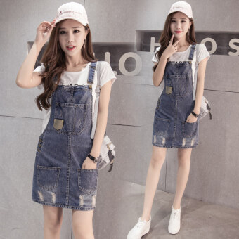 Women's Korean-style Student Denim Cloth Back Strapped Dress
