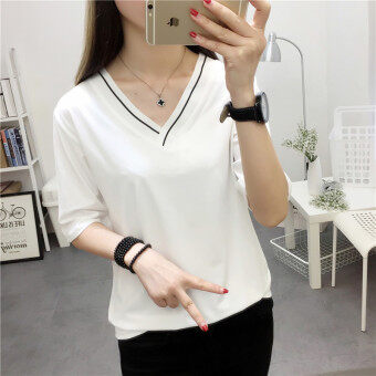 Women's Korean-style V-Neck Solid Color T-Shirt