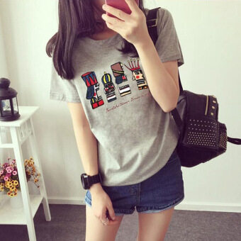 Women's Loose Print Cotton Short Sleeve T-Shirt 3 Colors (Gray)