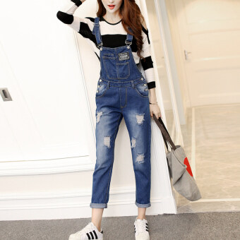 Women's Preppy Ripped Denim Cloth Cropped Rompers