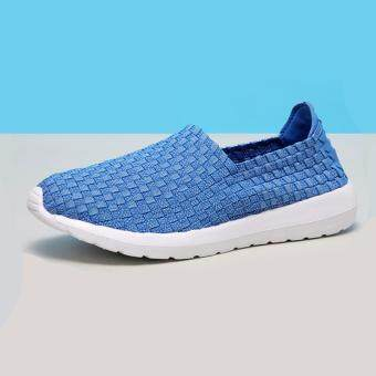 Women's Fashion Lattice Pattern Slip-Ons PU Casual Loafers Shoes -Blue
