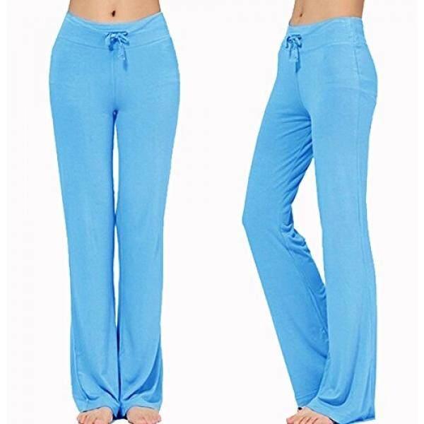 Wanita Panjang Modal Nyaman Drawstring Celana Longgar Lurus untuk Yoga Menjalankan Olahraga (L, Biru Muda) -Internasional