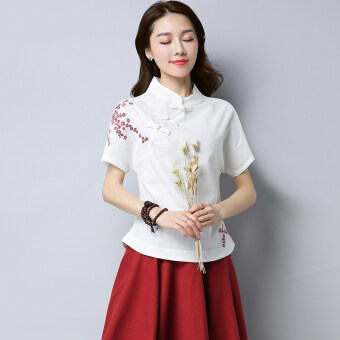 Xia Xin national style cotton linen embroidered flowers slimming Top (White)