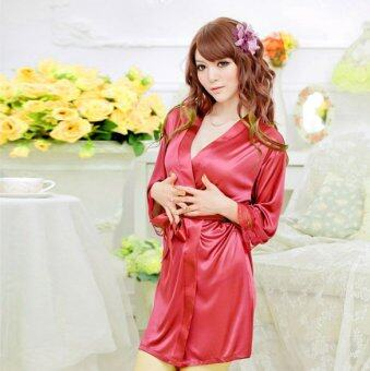 YBC Women Sexy Pajamas With T-back Satin Open Front BeltedBathrobes Nightdress Red - Intl