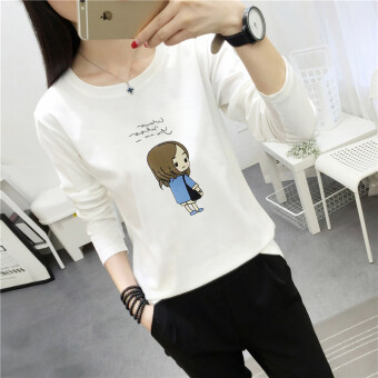 Youth small fresh female long-sleeved round neck loose T-shirt shirt Top (186 * white)