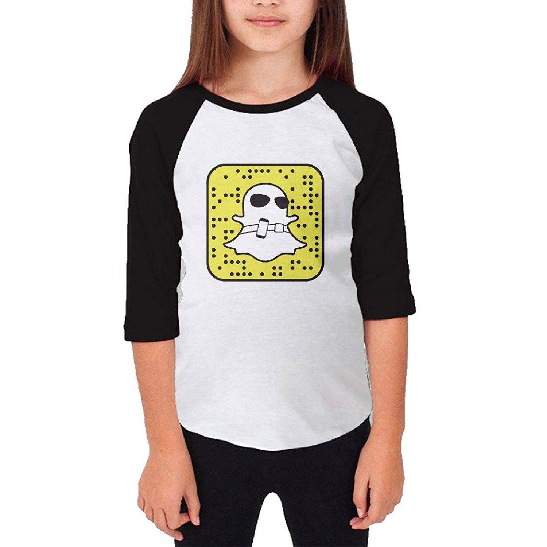 Youth/Girls Snapchat Snapcode Logo 3/4 Sleeve Baseball T-Shirt - intl
