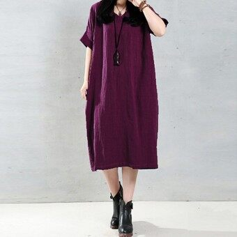 ZANZEA 2016 Elegant Women Long Dress O Neck Long Sleeve Pockets Solid Loose Casual Vintage Long Vestidos Plus Size 5XL Claret