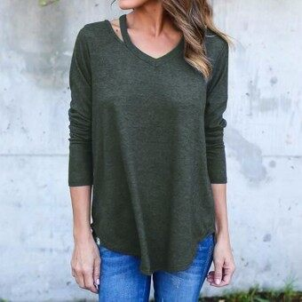 ZANZEA Autumn Blusas Femininas Women Blouses Tops Sexy V-Neck Long Sleeve Casual Loose Asymmetrical Solid Shirts Plus Size S-5XL (Army Green)
